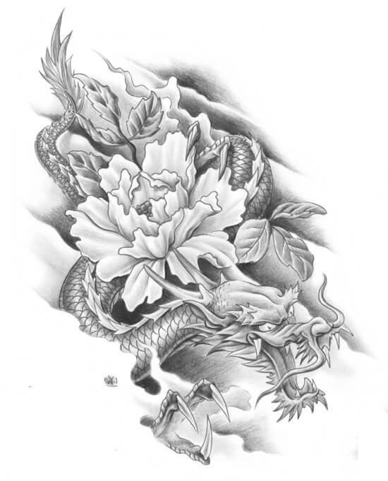 тату эскиз японский дракон и пионы
