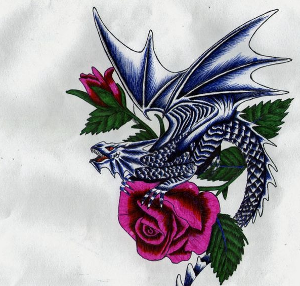 красивый эскиз дракон с розой