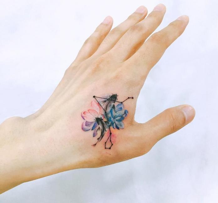 мини-тату на кисти цветы и абстракция