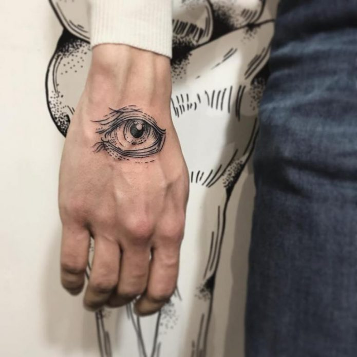 тату око чб на кисти руки, женские эскизы тату глаз на руку