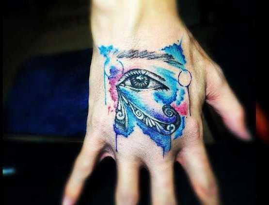 акварельная татуировка око, тату глаз на руку