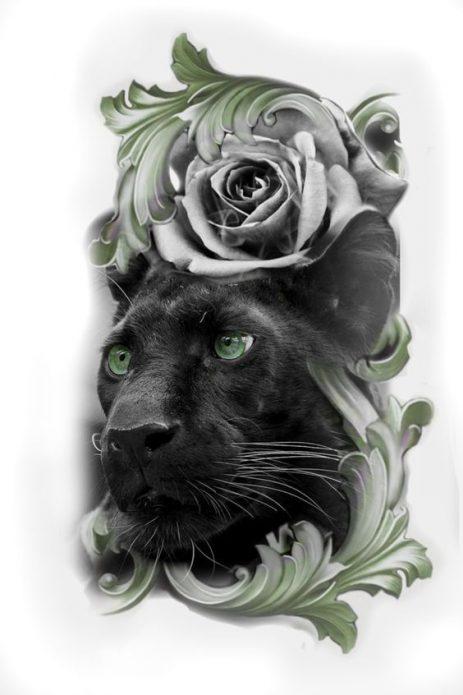 эскиз пантера и розы реализм