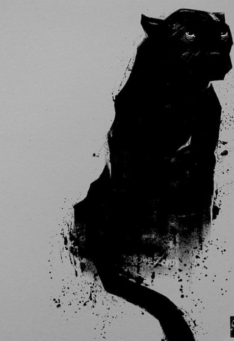 чёрный эскиз тату пантера
