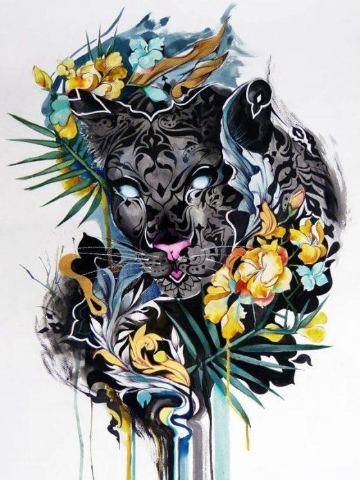 крутой эскиз пантера для девушек