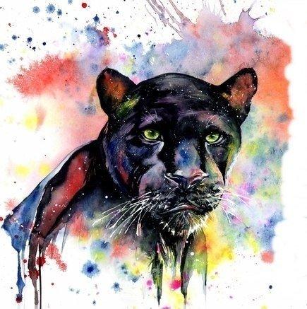 акварельный эскиз пантера для тату