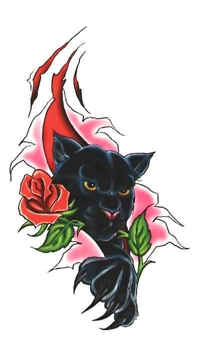 эскиз крадущаяся пантера и роза для женщин