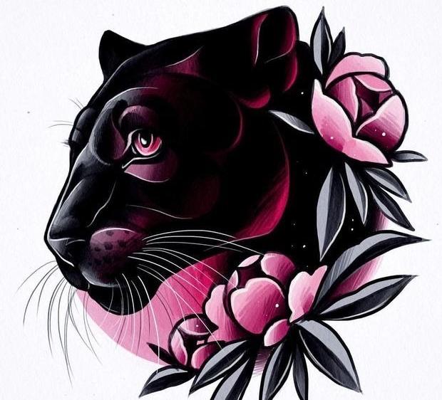 эскиз пантера в пионах для женской татуировки