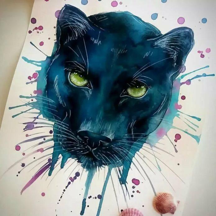 тату пантера крутой эскиз арт