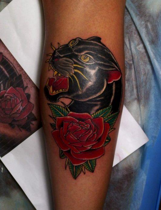хищная пантера тату для женщин