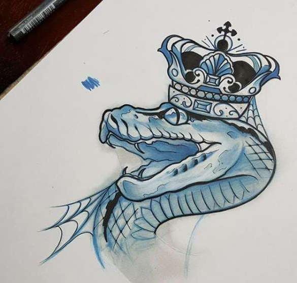эскиз кобра в короне тату змея
