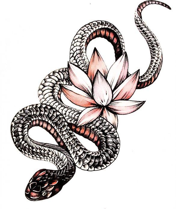 женский эскиз змея и лотос