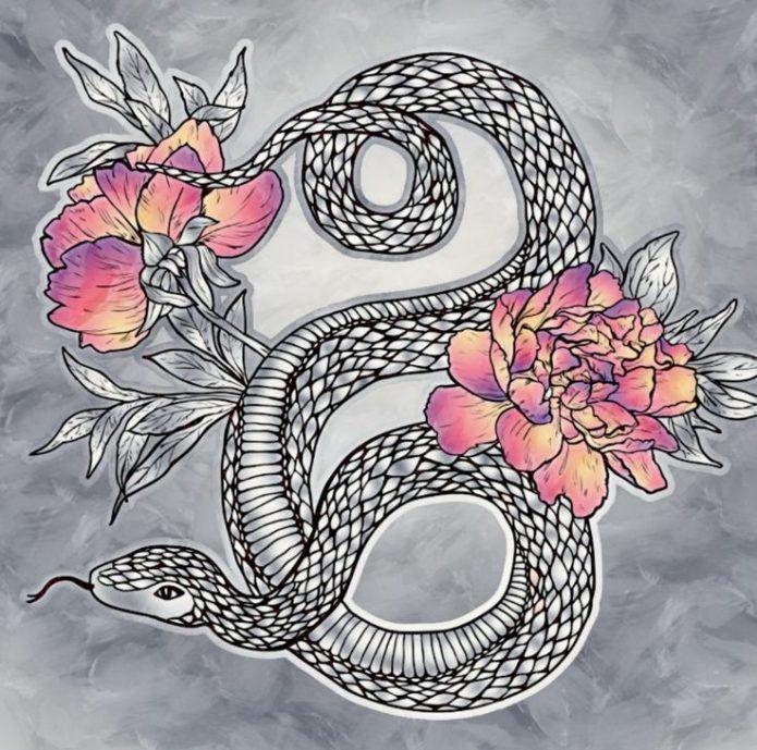эскиз для татуировки змея с пионами