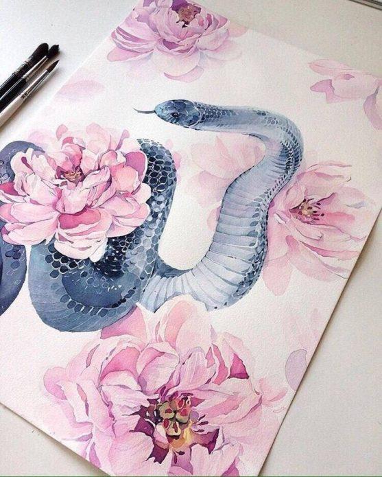 акварельный эскиз для тату змея и пионы