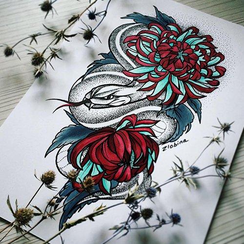 красивый эскиз тату змея и цветы