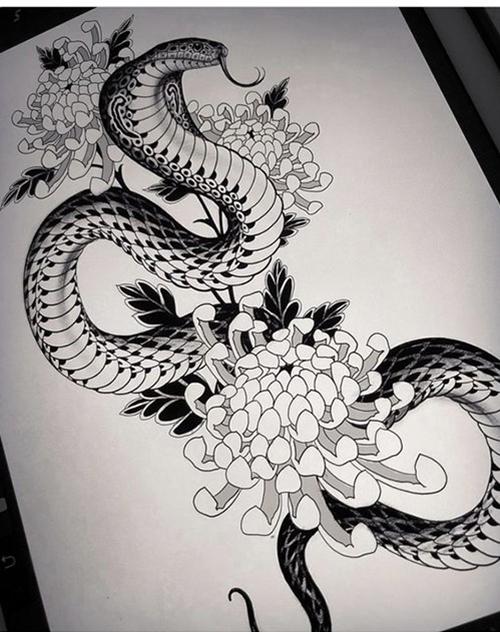 эскиз чб для девушек змея с цветами