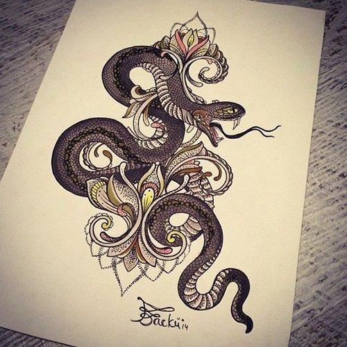 женский эскиз змея и узор