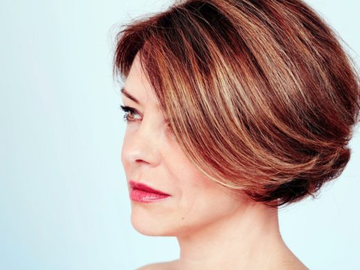 Woman with stylish haircut